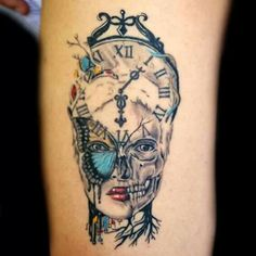 Cool leg tattoo color clock skull time I was born LIONTI TATTOO