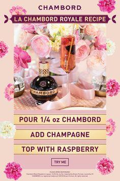 The perfect two-ingredient wedding cocktail for a signature drink or twist on champagne HOW TO MAKE A CHAMBORD ROYALE ¼ oz Chambord Liqueur Champagne Raspberry Pour Chambord into a flute glass. Top with champagne. Fancy Drinks, Cocktail Drinks, Yummy Drinks, Alcoholic Drinks, Beverages, Champagne Cocktail, Cold Drinks, Chambord Liqueur, Chambord Cocktails