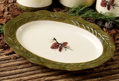 Pinecone Stoneware Serving Platter