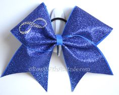 "3"" Wide Luxury Cheer Bow - Rhinestone Infinity Blue on Etsy, $15.99"