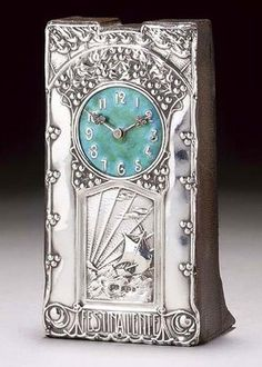 Peter Wylie Davidson, Possibly dessigned by Jessie m. King ~ Clock silver and enamel, with repoussé galleon, fruiting trees and birds in flight and Festina Lente stamped marks WD Birmingham 1904 7 high Art Nouveau, Marie Von Ebner Eschenbach, Glasgow School Of Art, Glasgow Girls, Charles Rennie Mackintosh, Cool Clocks, Antique Clocks, Arts And Crafts Movement, Antique Stores
