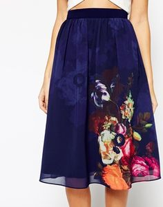 Midi Skirt With Floral Border Print