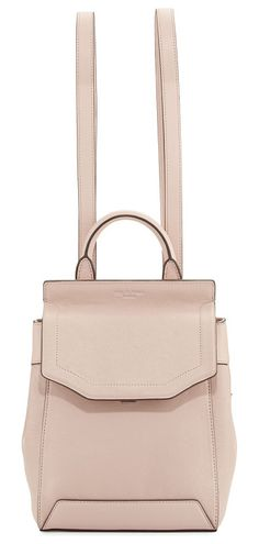 """Pilot Small Leather Backpack by Rag & Bone. Rag & Bone lambskin backpack. Shiny nickel hardware. Rolled top handle, 3"""" drop. Removable. adjustable shoulder straps, 12"""" drop. Flap top with push-lock closure. Side zip compartment. Snap sides expand bag. Slip pocket under flap. Inter... #ragbone #bags"""