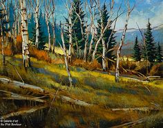 David Langevin, 'Orange in October' Canadian Painters, Canadian Artists, Watercolor Landscape, Landscape Paintings, Nature Sauvage, Art Gallery, Old Trees, Galerie D'art, Landscape Quilts