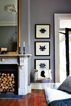 Love the gold framed mirror with the gray.