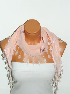 Personalized Design Soft Pink Scarf Turkish by WomanStyleStore, $13.50