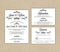 Modern Country chic Wedding Invitation and RSVP -Printable DIY. printed Wedding Invitation Template(1005)