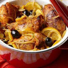 Spaanse kip met sinaasappel en olijven