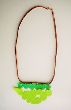 original necklace green plastic and leather by Jiakuma on Etsy