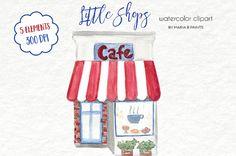 Watercolor Clip Art  Shop Front Store Front by MariaBPaintsClipArt