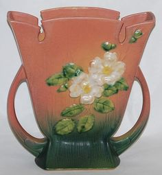 Roseville Pottery White Rose Pink Vase 987-8 from Just Art Pottery