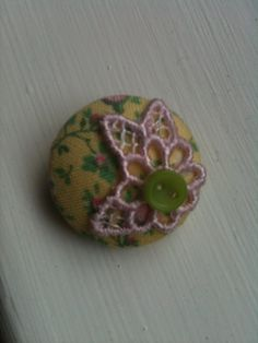 Vintage fabric button brooch