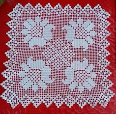 Large White Square Vintage Filet Crochet Lace Doily or Small Table Runner. - Her Crochet Crochet Patterns Filet, Crochet Butterfly Pattern, Crochet Doily Diagram, Doily Patterns, Crochet Designs, Crochet Stitches, Crocheting Patterns, Lace Doilies, Crochet Doilies