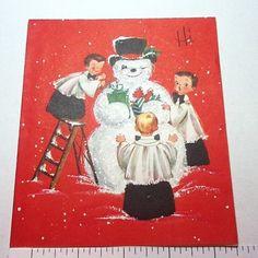 #B689- Vintage Xmas Greeting Card Boys Choir Making Snowman, Glittered | eBay