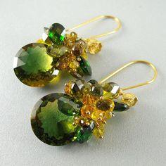 Gemstone Earrings, Ametrine, Citrine, Tourmaline and CZ Dangle Earrings