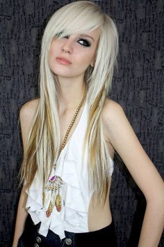 long Emo Hairstyle For Girls/highlights. Love the bangs and the layers
