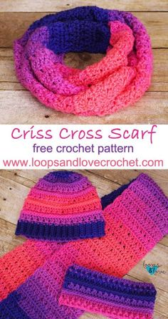 Criss Cross Scarf – free pattern by Loops & Love Crochet. Works up quickly and very pretty. Make the matching beanie and ear warmer too! See other ideas and pictures from the category menu…. Crochet Kids Scarf, Crochet Cowl Free Pattern, Quick Crochet, Crochet Beanie, Love Crochet, Crochet Scarves, Crochet For Kids, Crochet Patterns, Crochet Hats