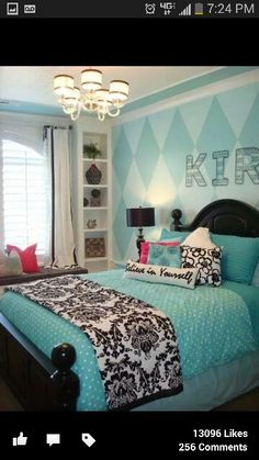 Cyan bedroom with polka and damask