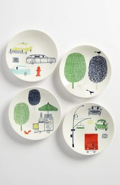 Free shipping and returns on kate spade new york 'hopscotch drive about town' tidbit plates (set of 4) at Nordstrom.com. Sketchbook trees drawn with whimsical squiggles and shapes accompany charming city scenes on a set of four porcelain plates.
