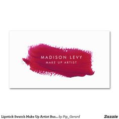 Lipstick Swatch Make Up Artist Business Cards