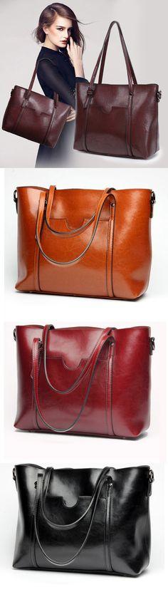 Women Fashion: Oil Leather Tote Handbags /Shoulder Bags