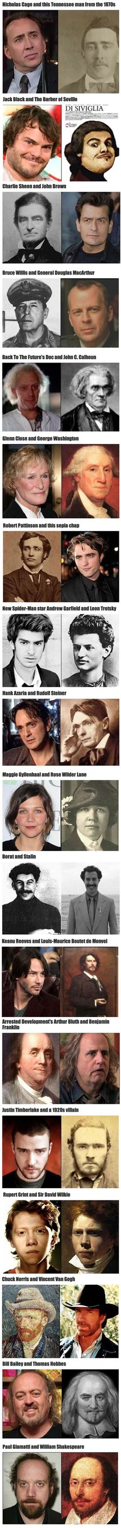 We have rounded up some historical figures and their famous celebrity doppelgangers.