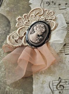 A simple brooch idea with cameo, an applique and tule ribbon. Brooches Handmade, Handmade Flowers, Handmade Jewelry, Handmade Headbands, Handmade Soaps, Handmade Rugs, Handmade Silver, Handmade Crafts, Jewelry Crafts