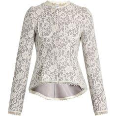 Erdem Gabrielle lace-neoprene peplum jacket ($1,383) ❤ liked on Polyvore featuring outerwear, jackets, grey white, pleated jacket, white jacket, peplum jacket, white peplum jacket and polartec jacket