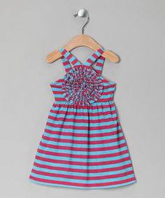 Take a look at this Turquoise Stripe Blooming Rose Dress - Toddler & Girls by Freckles + Kitty on #zulily today!