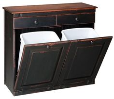 Vintage double trash bin: One for recycle, one for trash, and 2 handy drawers for extra storage.