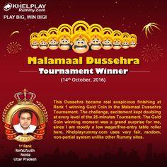 KhelPlay Rummy (@KhelPlayRummy) | Twitter Congratulations! To RoYaLfLuSh on winning Malamaal Dussehra Tournament @ http://khelplayrummy.com ! Play Big Win Big! #KhelPlayRummy #Winner