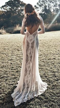 Browse our stunning wedding dresses now. Grace Loves Lace artfully crafts wedding gown designs using the finest European laces & silks for a new generation of bride. Perfect Wedding Dress, Dream Wedding Dresses, Bridal Dresses, Maxi Dresses, Boho Wedding Dress Backless, Boho Dress, Fashion Dresses, Bohemian Lace Wedding Dress, Event Dresses
