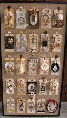 Advent calendar made from vintage tags and ephemera. Great idea, and looks prettier than that cardboard one your kids want. Christmas Holidays, Christmas Crafts, Christmas Decorations, Christmas Countdown, Nordic Christmas, Christmas Candles, Modern Christmas, Christmas Trees, Thanksgiving Holiday