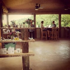 Inside the Honeysuckle Tea House in Chapel Hill. This would be a great week to visit. Weather is perfect!