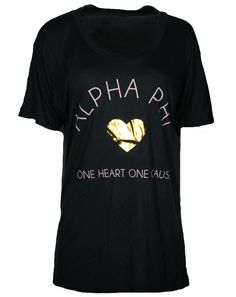 Alpha Phi One Heart One Cause Shirt by Adam Block Design | Custom Greek Apparel & Sorority Clothes | www.adamblockdesign.com