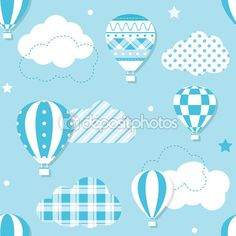 Descargar - Patrón de globos de aire caliente azul — Ilustración de stock #103844330