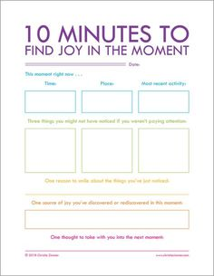 Printable Journal Page by Christie Zimmer - 10 Minutes To Find Joy In The Moment Therapy Tools, Art Therapy, Trauma, Coaching, Therapy Activities, Therapy Worksheets, Mental Health Activities, Counseling Worksheets, Bullet Journal