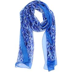 Ungaro Stole ($88) ❤ liked on Polyvore featuring accessories, scarves, blue, chiffon scarves, chiffon shawl, print scarves, colorful scarves and blue shawl