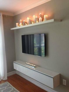 I like the candle shelf.for our bedroom, candle shelf over bed? Living Room Decor, Bedroom Decor, Bedroom Ideas, Living Spaces, Living Rooms, Bedroom Wall, Warm Bedroom, Bedroom Pictures, Tv Wall Ideas Living Room