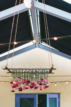 Reclaimed wood with suspended florals | Image by Let's Frolic Together;