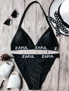 Halter Logo Band Thong Bikini Set - Black