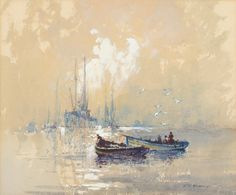 Robert Leslie Howey (1900-1981) Fishing boats on the River Esk at Whitby, early morning Signed, pencil charcoal and watercolour heightened with white, 24cm by 28.5cm - See more at: http://www.tennants.co.uk/Catalogue/Lots/154082.aspx#sthash.pPEkoSIQ.dpuf