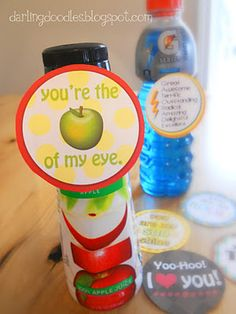 Free tag printables for individual beverages. Very cute for lunches or pregame encouragement for the budding athlete