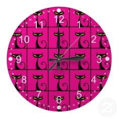 Hot Pink and Black Kitty Cats Collage Clock #wallclocks #zazzle #prettypatterngifts #homedecor #clocks