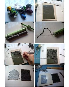 polymer clay tutorial. texture plate. extruded clay. cool!