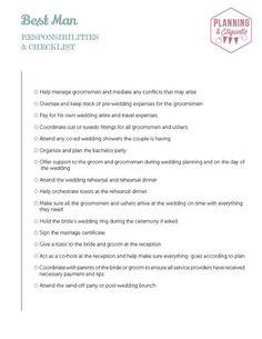 best man responsibilities checklist