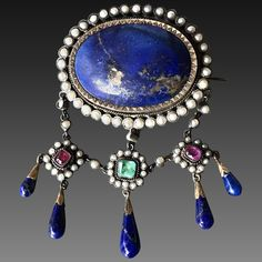 """Starry Night"" Rare & Stunning French Early to Mid Victorian Silver Brooch w/Rubies, Emerald, Lapis Lazuli & Natural Pearls"