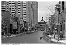 Street of Chinatown. Calgary, Alberta, Canada (black and white)