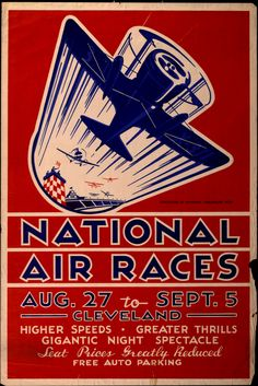 Advertising poster for National Air Races in Cleveland, Ohio, August 27 - September 5, 1932.
