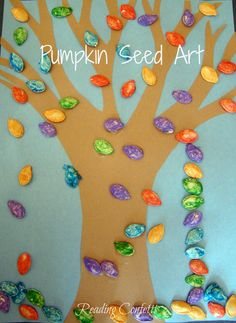 Pumpkin Seed Art from Reading Confetti...squish painting and the book Boo to You